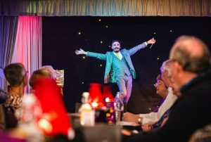 Magician Joel Dickinson performs at the Cabaret Curry Night Clay Cross