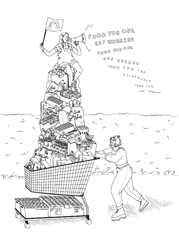 Illustration of people pushing a trolley piled high with food for key workers