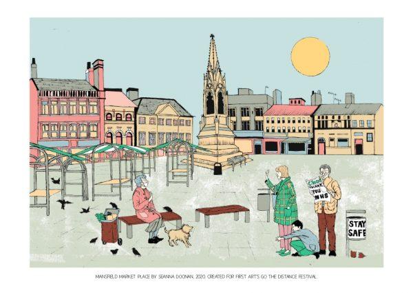 Art print of Mansfield Market Place by Seanna Doonan for First Art