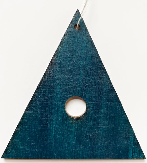 Blue painted plywood decoration