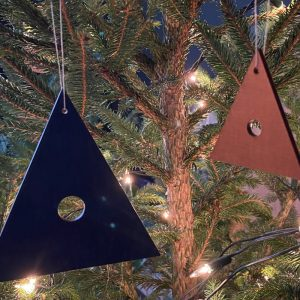 Blue and copper plywood decorations