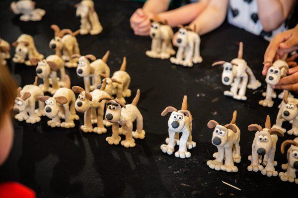 A group of Gromit the dog models from Aardman Animnation Model Making Workshop