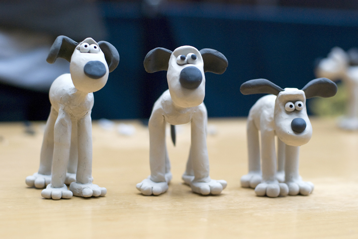 Three Gromit the dog models from an Aardman Animations Workshop