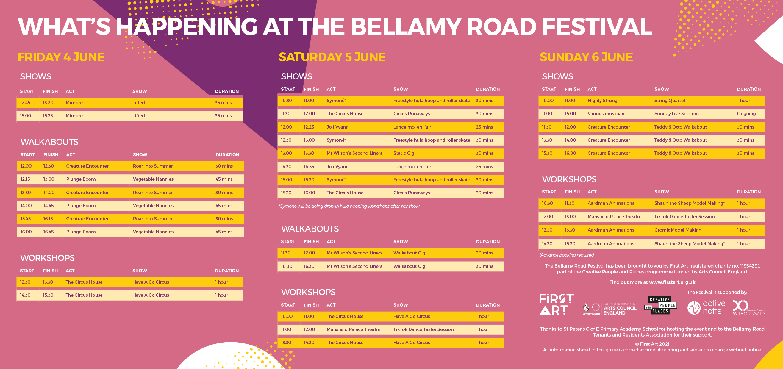 Timetable for The Bellamy Road Festival