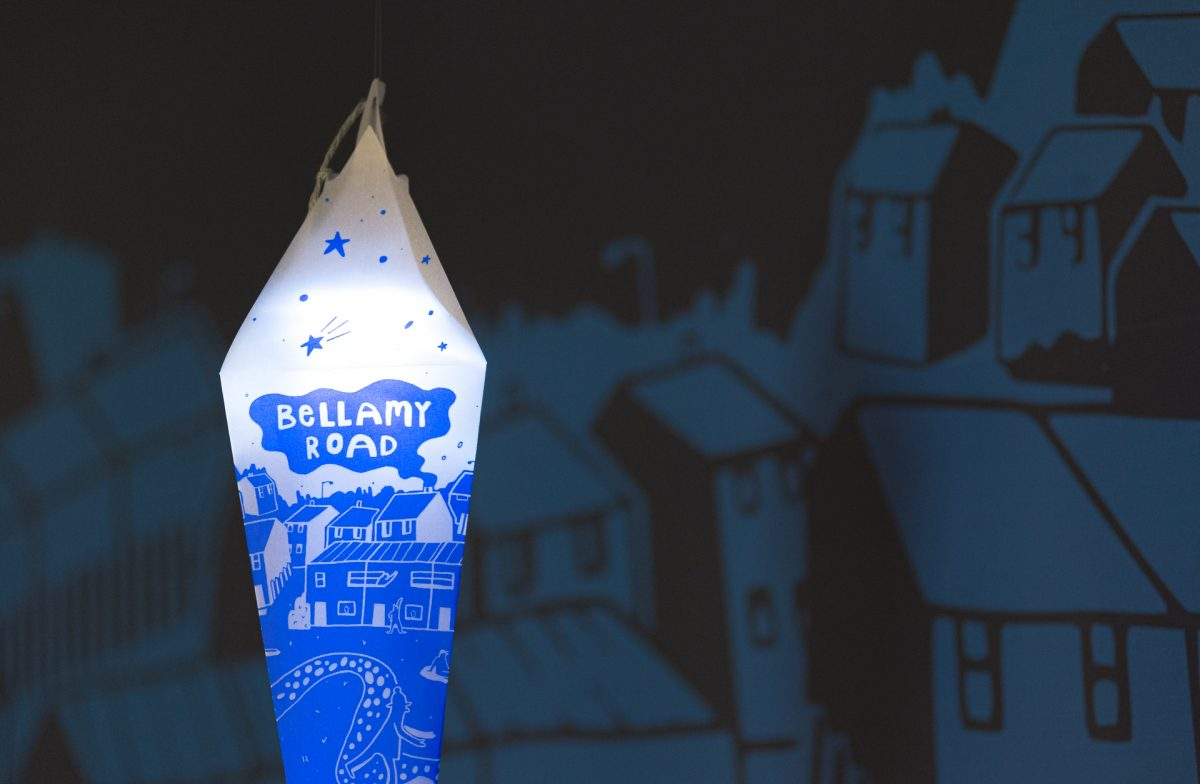Risographic paper lantern for the Light Up project designed and made by Dizzy Ink for First Art